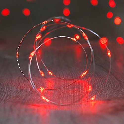 LED by Lights4fun Wire Micro Fairy Lights, Battery Operated, Red (Pack of 20) from Lights4fun