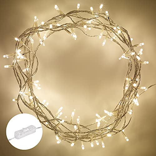 Indoor Fairy Lights with 100 Warm White LEDs on 8m of Clear Cable by Lights4fun from Lights4fun