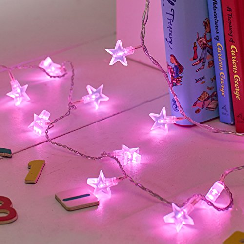 Indoor Star Fairy Lights with 30 Pink LEDs by Lights4fun from Lights4fun