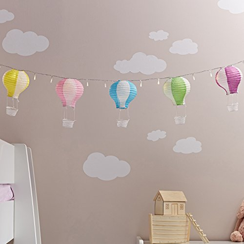 Set of 5 Pastel Hot Air Balloon Fairy Light Paper Lanterns by Lights4fun from Lights4fun