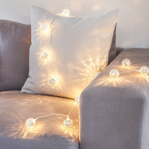 Silver Tangier Indoor Fairy Lights with 16 Warm White LEDs by Lights4fun from Lights4fun