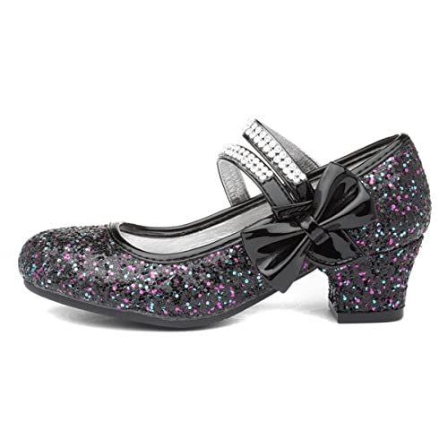 Lilley Sparkle Girls Black Heeled Glitter Bar Shoe - Size 9 Child UK - Black from Lilley