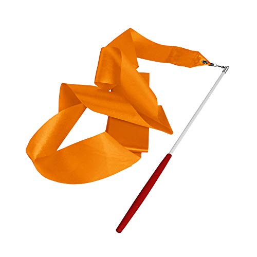 4M Dance Gym Ribbon Rhythmic Art Gymnastic Streamer Baton Twirling Rod UK (Orange) from Lillyvale