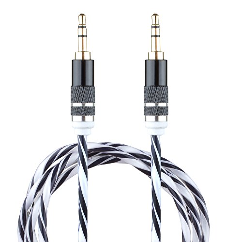 Lilware Braided Woven Fabric Transparent PVC Jacket 0.9M Aux Audio Cable 3.5mm Jack Male to Male Cord For Multimedia Devices - Black from Lilware