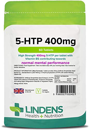 Lindens 5 HTP 100mg Tablets | 60 Pack | 102.5mg Griffonia Simplicifolia Extract 98%, Standardised to Yield 100mg 5-HTP from Lindens