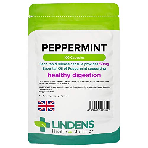 Lindens Peppermint Oil 50mg Capsules | 100 Pack | Essential Oil of Peppermint supporting healthy digestion from Lindens