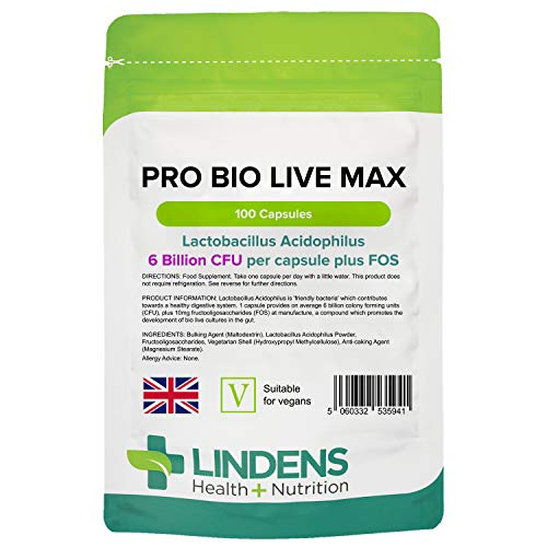 Lindens Probiotic Max 6 Billion CFU High Strength (+ Prebiotic) Capsules | 100 Pack | High potency Lactobacillus Acidophilus supporting digestion from Lindens