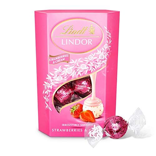 Lindt Lindor Strawberries and Cream Chocolate Truffles Box - Approximately 16 Balls, 200 g - The Ideal Gift - Chocolate Balls with a Smooth Melting Filling from Lindt