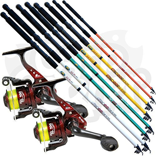 2 x New Lineaeffe Telescopic Coarse + Sea Fishing Travel Rods & 2 x SL30 1BB Reels + Pre-Spooled with Line Available in 6 7 8 & 10ft (Choose your Own) (2 x 1.8m / 6ft Rods & 2 x Reels) from Lineaeffe Scoop Rod + SL30 Reel