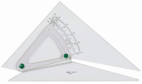 Linex Set Square Adjustable Precision 0.5 Degree Scale Bevelled Edge Long 250mm Clear Ref LXB1120/10B from Linex