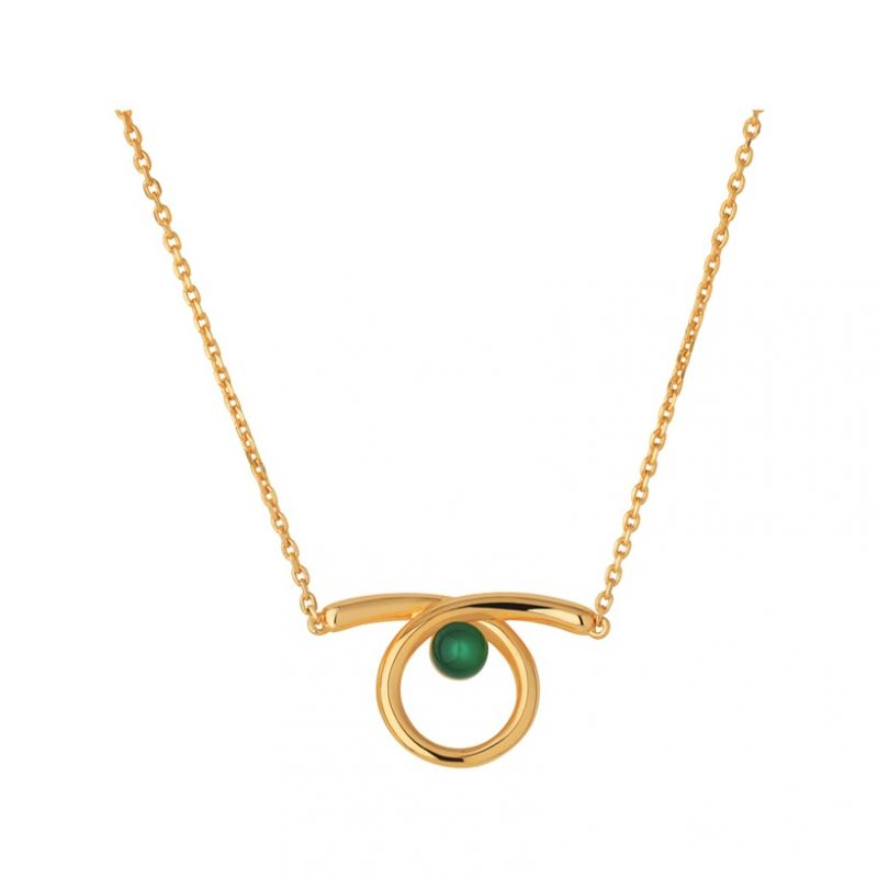 Ladies Links Of London Gold Plated Sterling Silver Serpentine Green Chalcedony Stone Necklace from Links Of London Jewellery