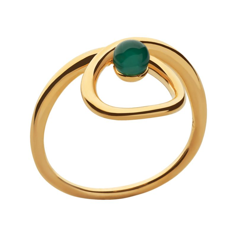 Ladies Links Of London Gold Plated Sterling Silver Serpentine Green Chalcedony Stone Ring L from Links Of London Jewellery