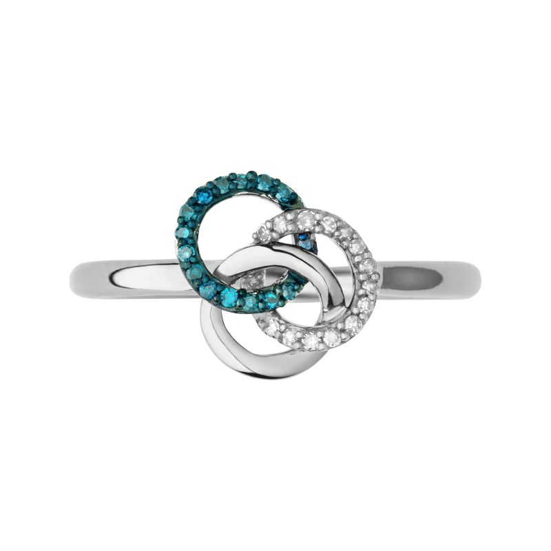 Ladies Links Of London Sterling Silver Treasured White & Blue Diamond Ring Size N from Links Of London Jewellery