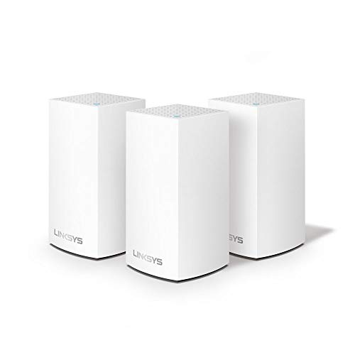 Linksys WHW0103 Velop Dual-Band Home Mesh Wi-Fi  System (Wi-Fi Router/Wi-Fi Extender for Whole-Home Mesh Network, AC3600, 3-Pack, Up to 4,500 sq ft Coverage, White) from Linksys