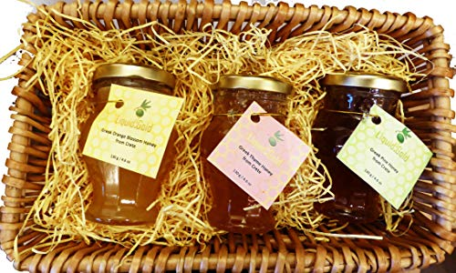 Greek Honey Variety Gift Hamper - 3 Amphora Jars, 130g Each in Luxury Basket from Liquid Gold Products
