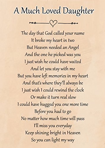A Much Loved Daughter Memorial Graveside Poem Keepsake Card Includes Free Ground Stake F102 from Lisasgiftsforyou