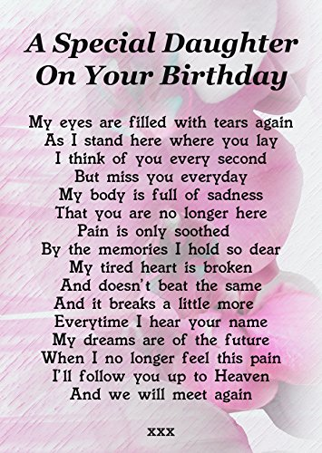 A Special Daughter On Your Birthday Memorial Graveside Poem Keepsake Card Includes Free Ground Stake F202 from Lisasgiftsforyou