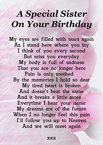 A Special Sister On Your Birthday Memorial Graveside Poem Keepsake Card Includes Free Ground Stake F204 from Lisasgiftsforyou