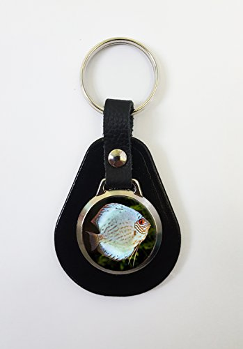 Discus Fish On A Leather Key Fob Keyring Ideal Birthday Gift N380 from Lisasgiftsforyou