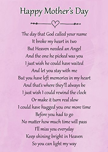 Happy Mother's Day Memorial Graveside Poem Keepsake Card Includes Free Ground Stake F116 from Lisasgiftsforyou