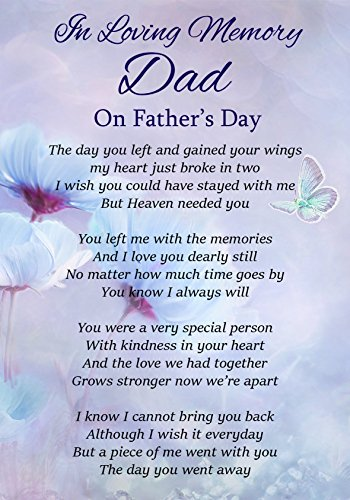 In Loving Memory Dad On Father's Day Memorial Graveside Funeral Poem Keepsake Card Includes Free Ground Stake F317 from Lisasgiftsforyou