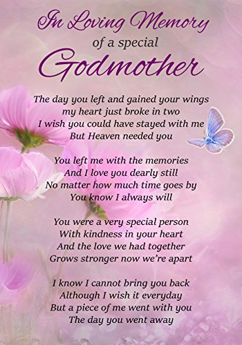 In Loving Memory Of A Special Godmother Memorial Graveside Funeral Poem Keepsake Card Includes Free Ground Stake F306 from Lisasgiftsforyou