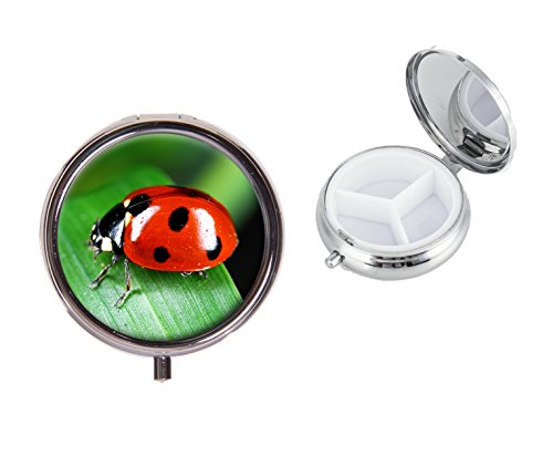 Ladybird On A Round Travel Metal Pill Box Ideal Birthday Gift X50 from Lisasgiftsforyou