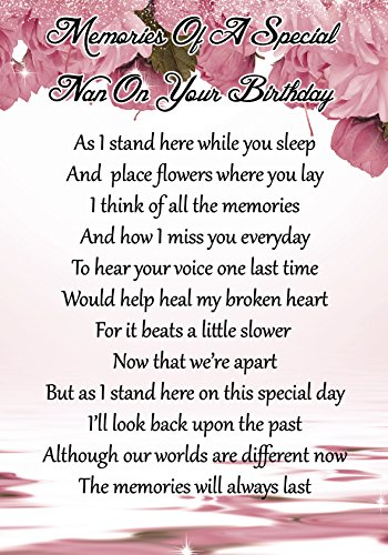 Memories Of A Special Nan On Your Birthday Memorial Graveside Poem Keepsake Card Includes Free Ground Stake F62 from Lisasgiftsforyou