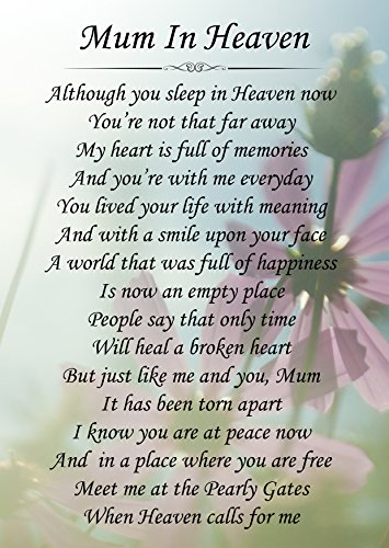 Mum In Heaven Memorial Graveside Poem Keepsake Card Includes Free Ground Stake F143 from Lisasgiftsforyou
