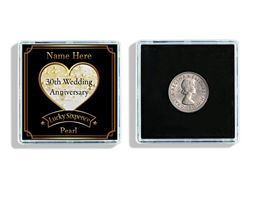 Personalised 30th Wedding Anniversary Lucky Sixpence Keepsake In Display Case Ideal Anniversary Gift W69 from Lisasgiftsforyou