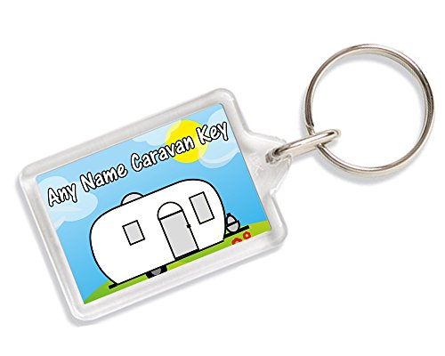 Personalised Any Name Caravan Key Keyring Gift AK284 from Lisasgiftsforyou