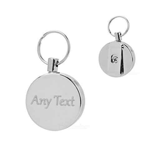 Personalised Any Text Engraved Metal Retractable Belt Clip I.D Badge Holder Keyring from Lisasgiftsforyou