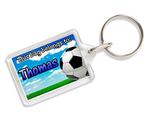 Personalised Football Kids School Bag Tag Keyring Any Name Gift AK381 from Lisasgiftsforyou