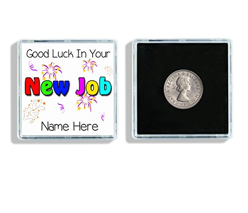Personalised Good Luck In Your New Job Lucky Sixpence Keepsake In Display Case Ideal Gift W31 from Lisasgiftsforyou