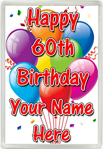Personalised Happy 60th Birthday Any Name Jumbo Fridge Magnet Gift 522 from Lisasgiftsforyou
