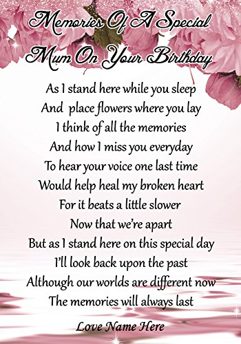 Personalised Memories Of A Special Mum On Your Birthday Graveside Memorial Poem Keepsake Card Includes Free Ground Stake F60 from Lisasgiftsforyou