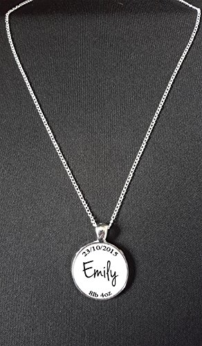"Personalised New Baby Child Name Date & Weight Pendant On 18"" Silver Plated Fine Metal Chain Necklace Ideal Keepsake Gift N383 from Lisasgiftsforyou"