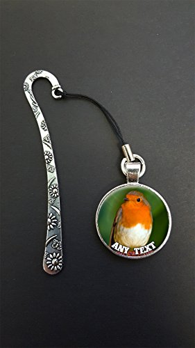Personalised Robin Bird Any Text Pendant On a Metal Design Bookmark Ideal Birthday Gift N440w from Lisasgiftsforyou