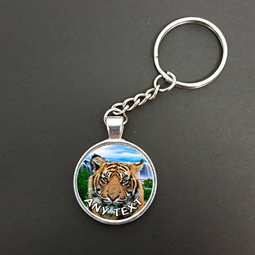 Personalised Tiger Pendant On A Split Ring Keyring Ideal Birthday Gift N733w from Lisasgiftsforyou