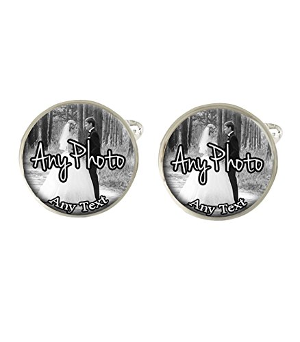 Personalised Wedding Day Any Photo & Text Mens Cufflinks Ideal Wedding Special Occasion Gift C357 from Lisasgiftsforyou