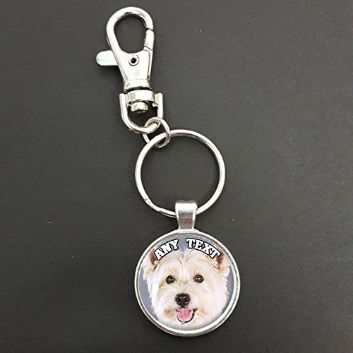 Personalised Westie Dog Pendant On A Spring Hook Keyring Ideal Birthday Gift N70w from Lisasgiftsforyou