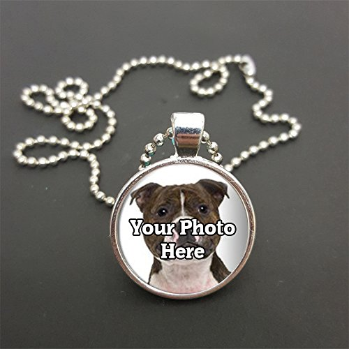 "Personalised Your Staffie Terrier Dog Photo Pendant On 20"" Silver Coloured Ball Chain Necklace Gift from Lisasgiftsforyou"