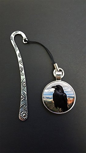 Raven Crow Pendant On a Metal Design Bookmark Ideal Birthday Gift N418 from Lisasgiftsforyou