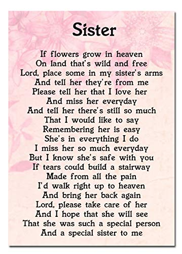 Sister Memorial Graveside Poem Keepsake Card Includes Free Ground Stake F46 from Lisasgiftsforyou