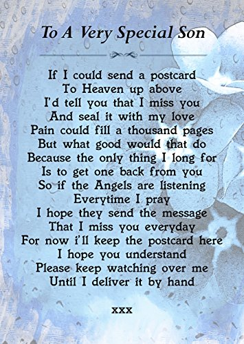 To A Very Special Son Memorial Graveside Poem Keepsake Card Includes Free Ground Stake F209 from Lisasgiftsforyou