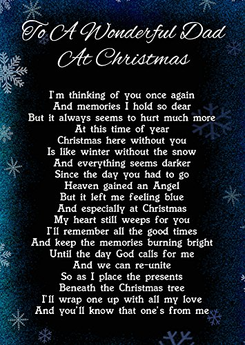 To A Wonderful Dad At Christmas Memorial Graveside Funeral Poem Keepsake Card Includes Free Ground Stake F266 from Lisasgiftsforyou