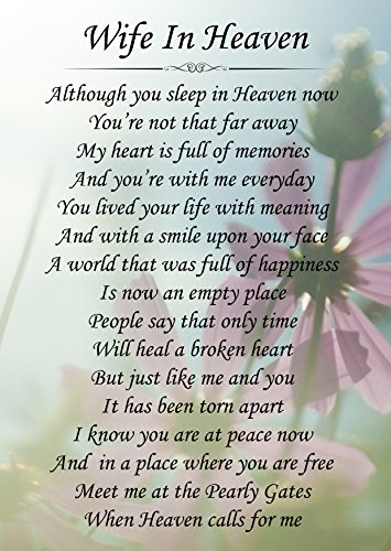 Wife In Heaven Memorial Graveside Poem Keepsake Card Includes Free Ground Stake F147 from Lisasgiftsforyou