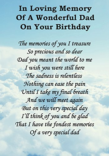 Wonderful Dad On Your Birthday Memorial Graveside Poem Keepsake Card Includes Free Ground Stake F49 from Lisasgiftsforyou