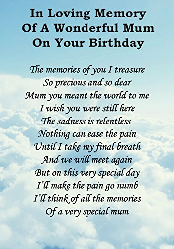 Wonderful Mum On Your Birthday Memorial Graveside Poem Keepsake Card Includes Free Ground Stake F51 from Lisasgiftsforyou