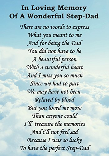 Wonderful Step Dad Memorial Graveside Poem Keepsake Card Includes Free Ground Stake F97 from Lisasgiftsforyou